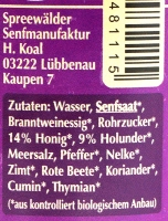 Spreewaldsenf Holunder-Honig 190ml
